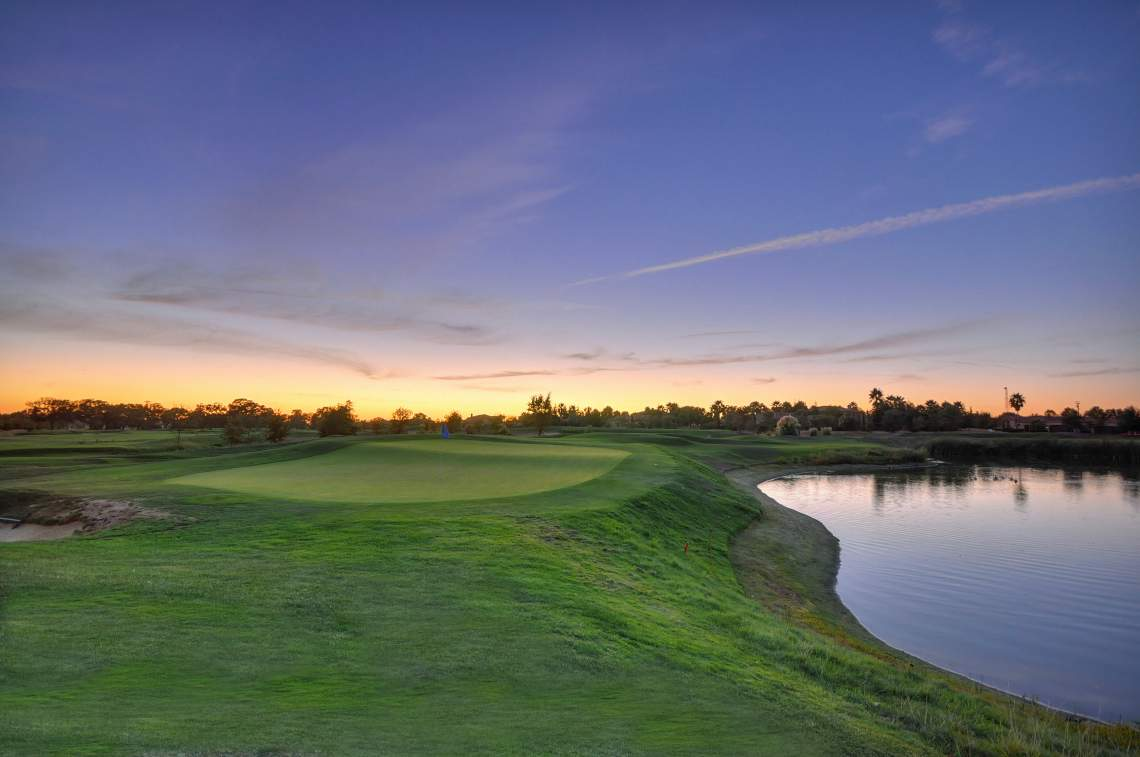 golf course sunset pond