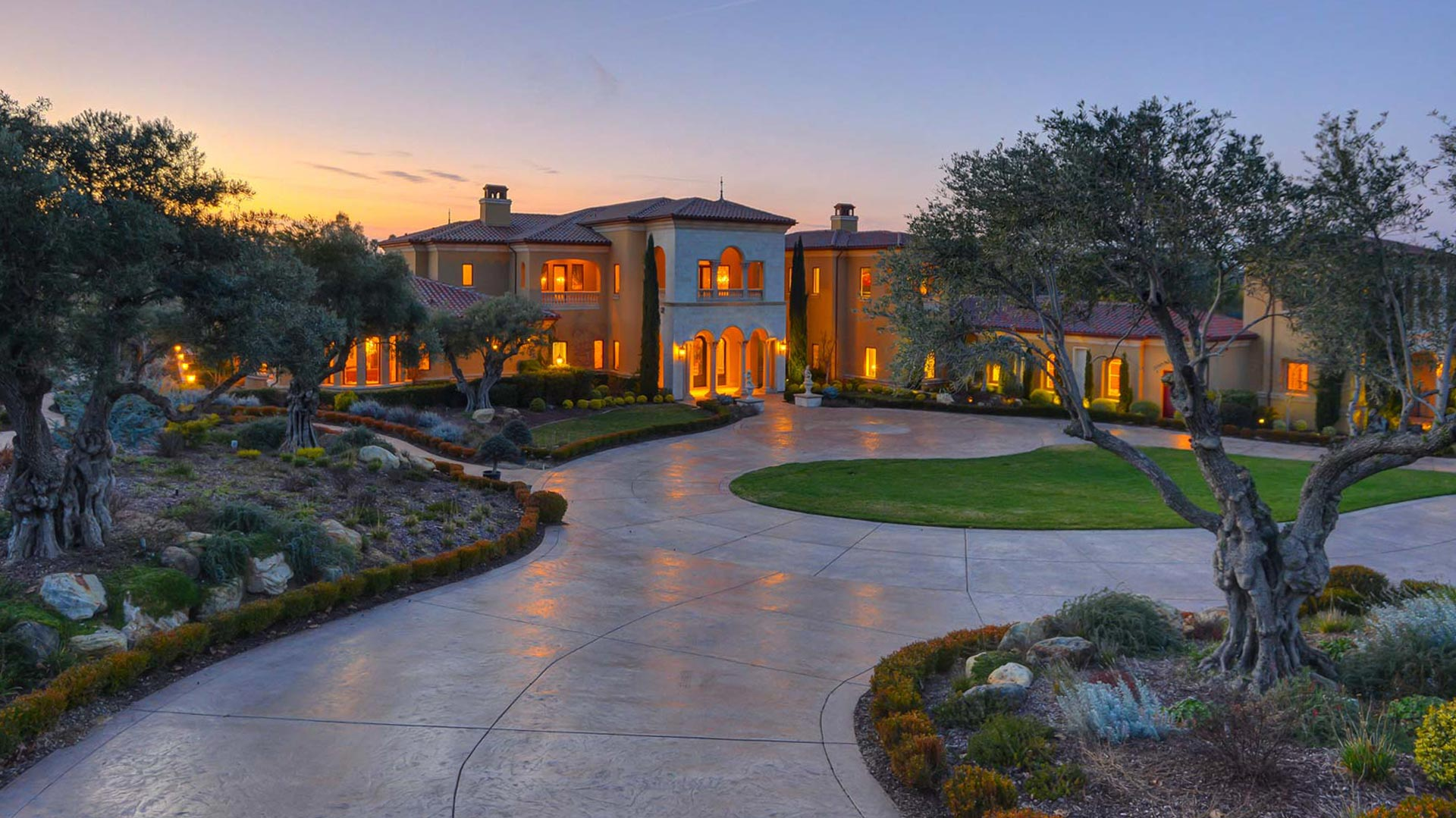 granite bay home and driveway at sunset