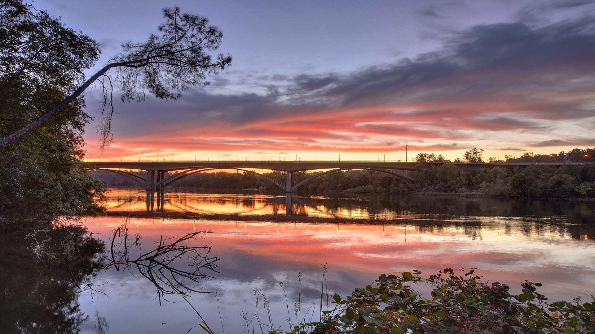 Folsom Rainbow Bridge at sunset