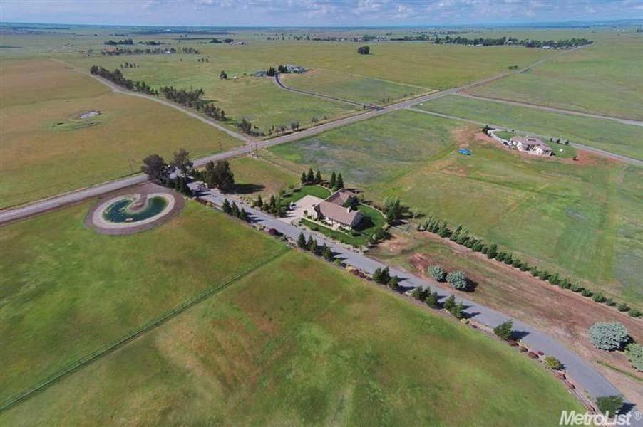 aerial view of Sacramento area home and equestrian center for sale