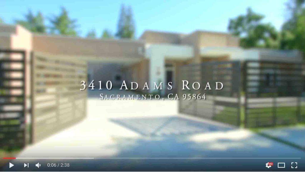 YouTube Video of 3410 Adams Road in Sacramento