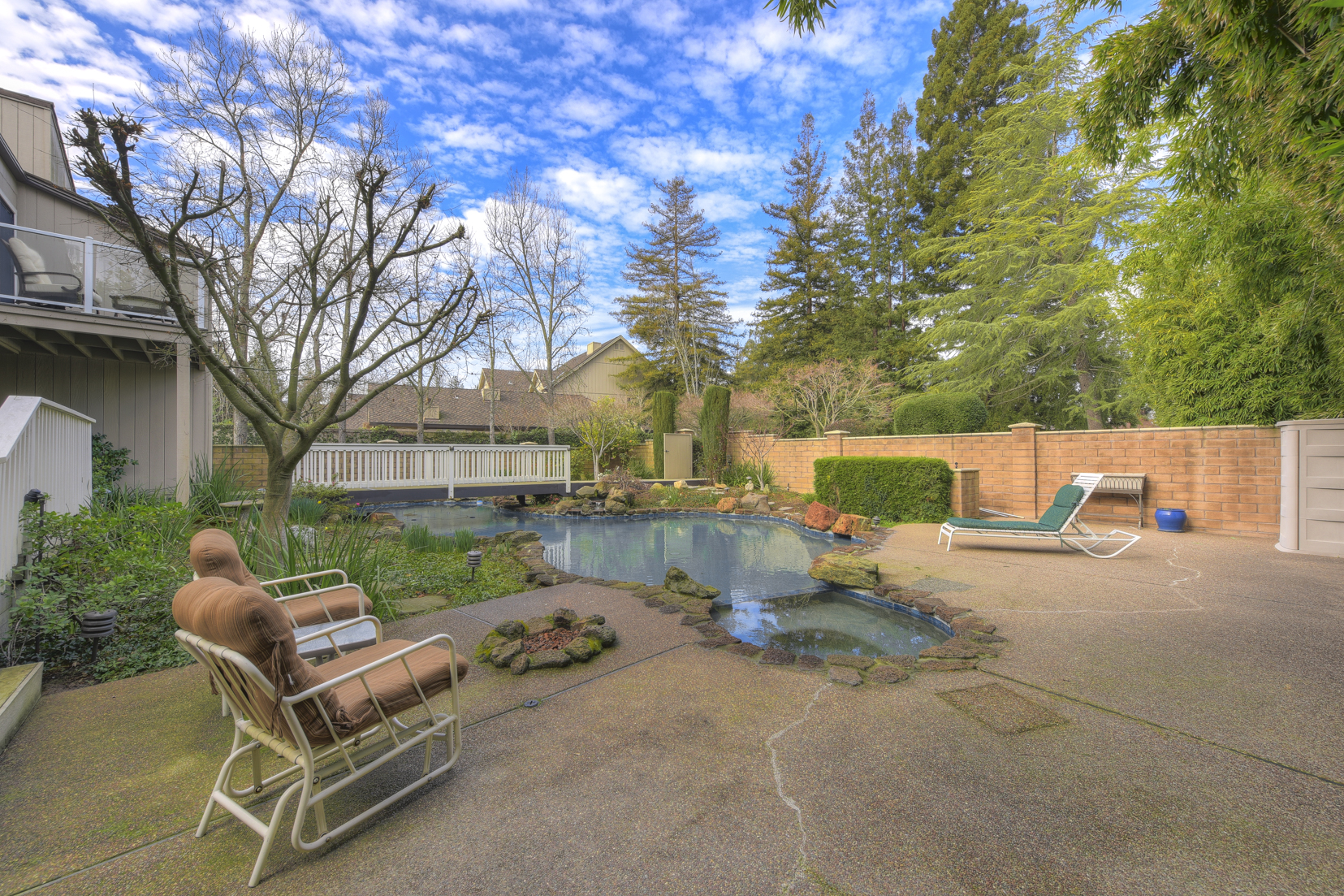 Lagoon style pool, spa and wood decking