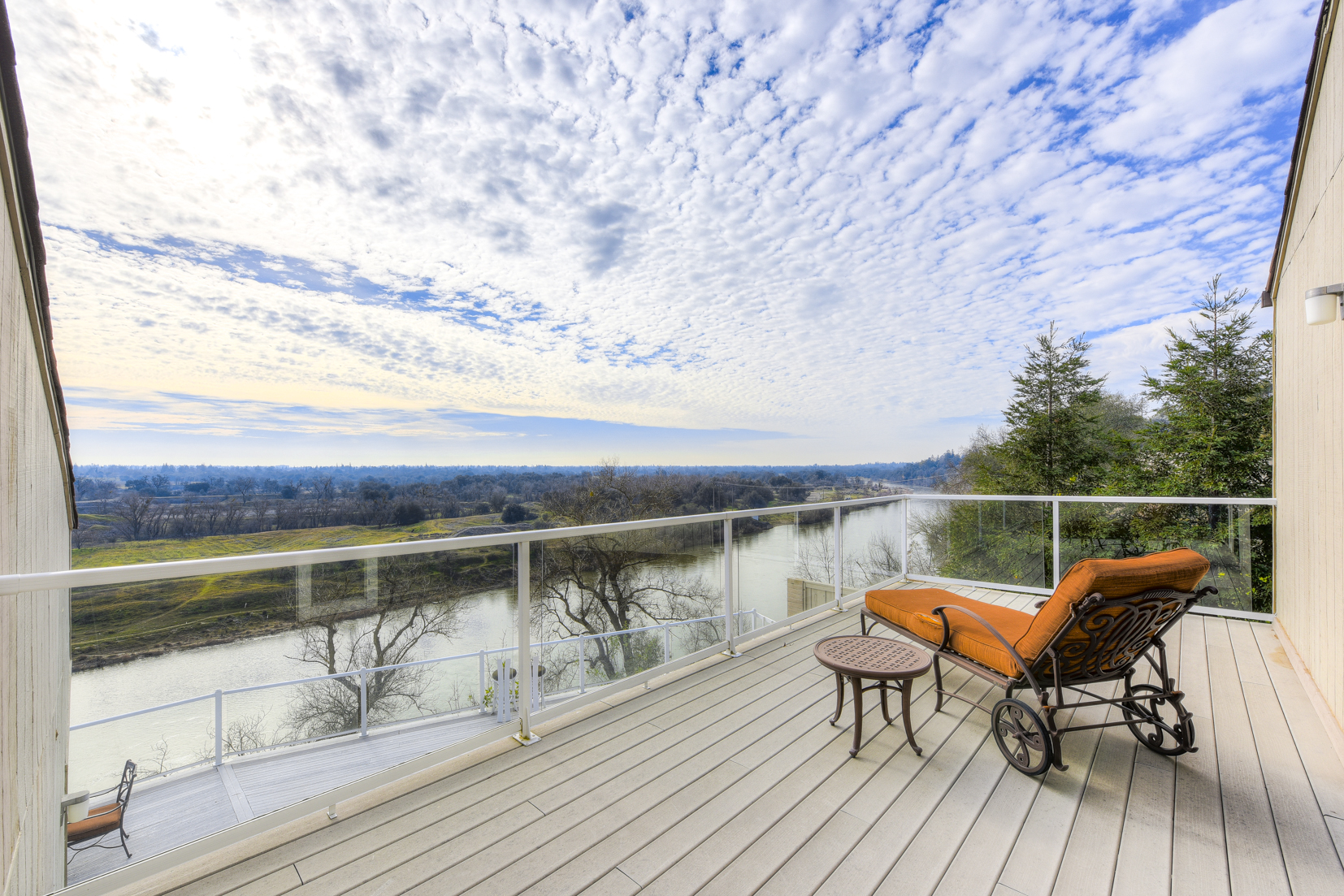Relax on the wood deck along the American River