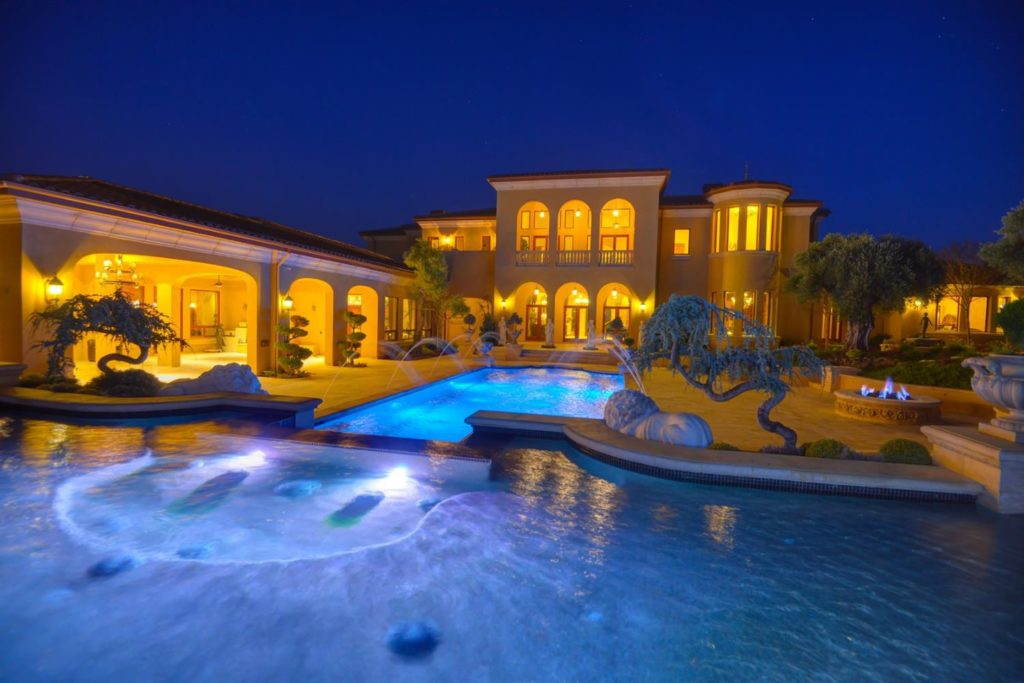 granite bay mansion with pool and fountain